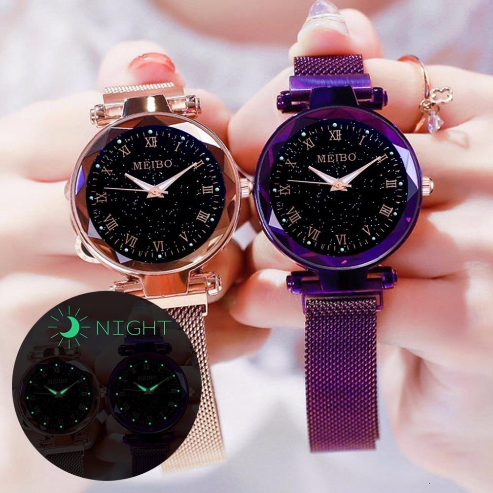 Women Mesh Magnet Buckle Starry Sky Luminous Watch Luxury MEIBO Ladies Roman Numeral Quartz Watches Clock Relogio Feminino
