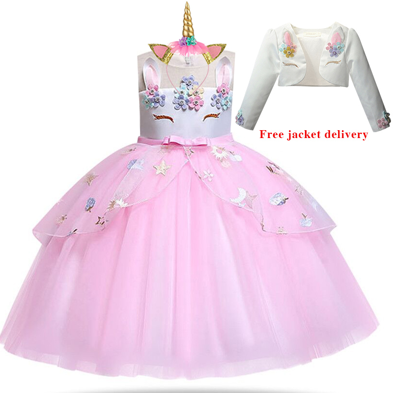 H4bd1c1a6234d41d4961bda076cceb6d19 New Unicorn Dress for Girls Embroidery Ball Gown Baby Girl Princess Birthday Dresses for Party Costumes Children Clothing
