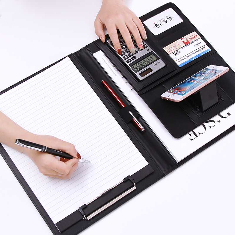 A4  PU Leather Multifunctional Portfolio Office Business Manager Padfolio Zipper Briefcase Bag Document File Holder