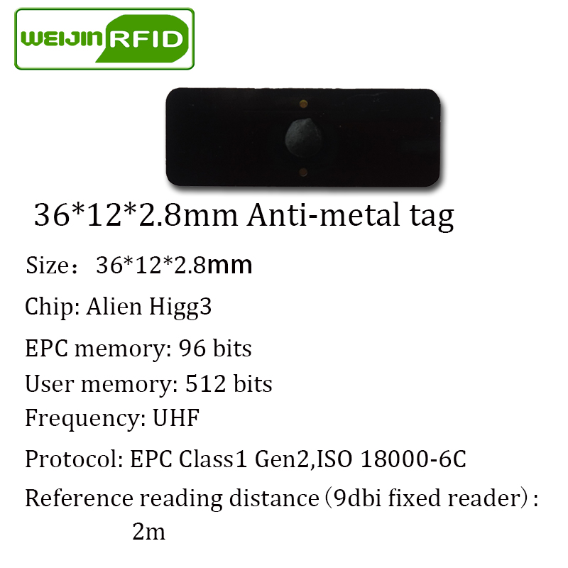 Купить с кэшбэком UHF RFID anti-metal tag 915mhz 868mhz Alien Higgs3 EPCC1G2 6C 36*13*2.8mm small rectangle PCB smart card passive RFID tags
