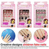 24pcs False Nail Tips Manicure Beauty Tools Designs Short Head Cute Bear Strawberry Heart Fake Nails Press on Children Candy