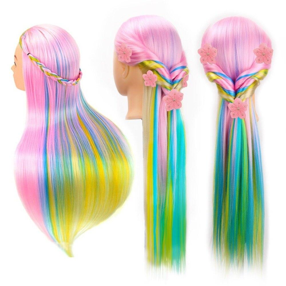 29 дюймов цветные синтетические волосы манекен парик головы для прически парикмахерские Учебные головы-манекены манекен кукольный зажим ак...