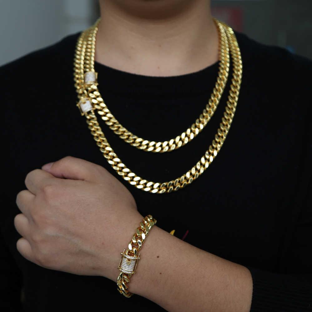 Moda złoty kolor kubański Link bransoletka łańcuszek bransoletka dżetów betonowa mężczyźni kobiety Hippie Hip hop biżuteria prezenty hurtowo