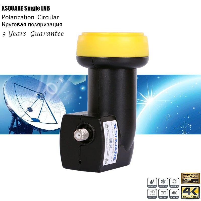 Xsquare Circular LNB для спутникового приемника триколор тв, KU Band Quad Single LNBF 4K, водонепроницаемость, 3 года гарантии
