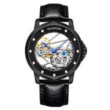 GUANQIN Hohl-geschnitzte Design Mechanische Hand-wind Tourbillon Skeleton Business Armbanduhr Leder Band Wasserdicht Männer Uhr uhr