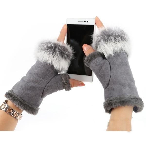 Rabbit Fur Leather Lady Fingerless Suede Mittens Women Winter Warmer Wrist Gloves Hc
