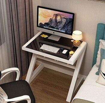 цена на Simple modern computer desk Laptop table tempered glass desk top PC table home study desk working desk