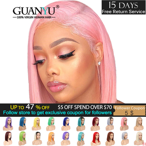 Pink Bob Lace Front Wigs Human Hair 13X4 Pre Plucked 613 Blonde Blue Red Grey Green Ombre Short Bob Wigs For Black Women Remy(China)
