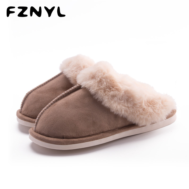 FZNYL 2019 Autumn Winter Home Slippers Men Women Soft Comfortable Warm Fur Slides Fashion Bedroom Indoor Shoes Zapatos De Hombre