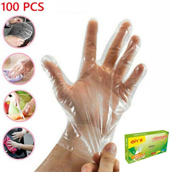100 Disposable Plastic Gloves Polythene Boxed Food Prep Food Safe Size Medium
