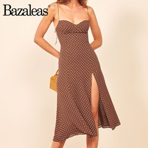 Bazaleas Sexy Dot Print Split vestidos Vintage Tube top women dress Retro dresses Slim Chic Brown Dress(China)