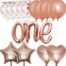 Twins Rose Gold ONE Birthday Foil Balloons Latex Reveal Party  Confetti Ballons Baby Shower Gender Decoration