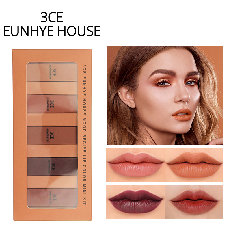 3CE EUNHYE HOUSE Lips Makeup Matte Lipstick Waterproof Lips Cosmetics Easy To Carry Matte Lipsticks 5 Colors In 1 Set Hot Sale