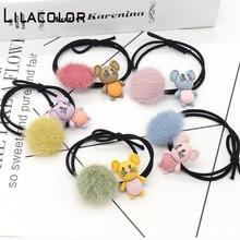 5 pcs/lot Children Hair Rope Cute Imitation Fur Elastic Hair Bands Korean headwear Cartoon children hair Accessories ornaments цены