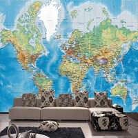Papel pintado con mapa del mundo HD, Papel Tapiz para habitación de estudio de Chico, decoración para sala de estar, Papel pintado de diseño moderno, Papel Tapiz no tejido, Papel Tapiz