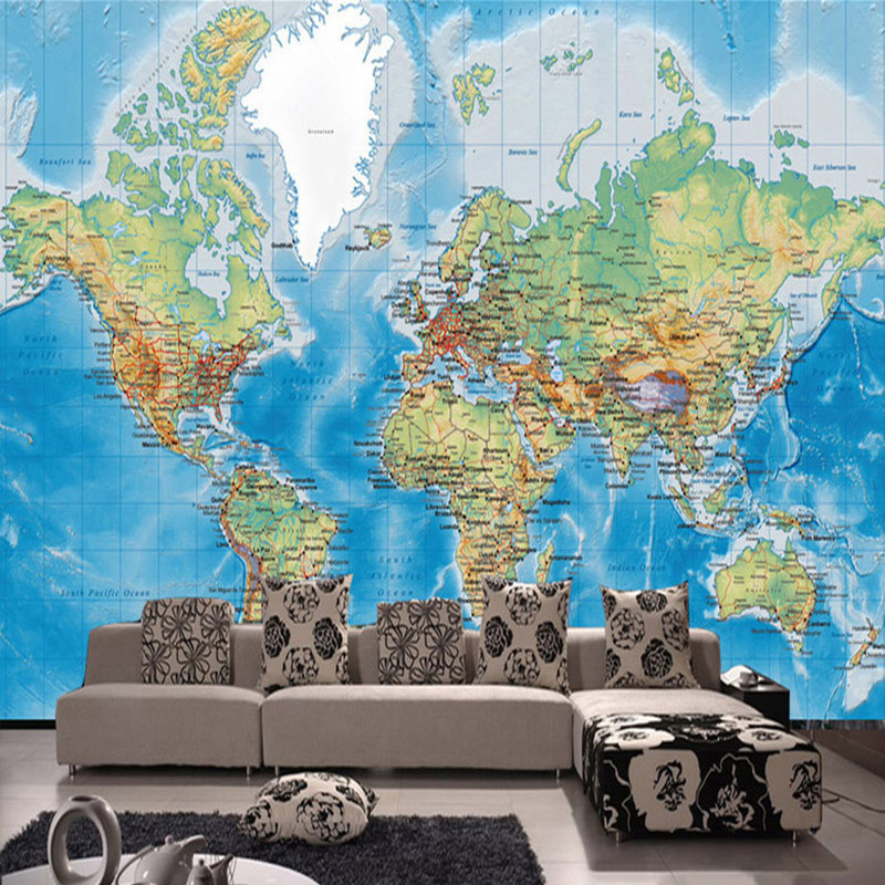 HD World Map Photo Mural Wallpaper Study Kid's Room Living Room Decor Wallpaper Modern Design Non-Woven Wall Papers Papel Tapiz