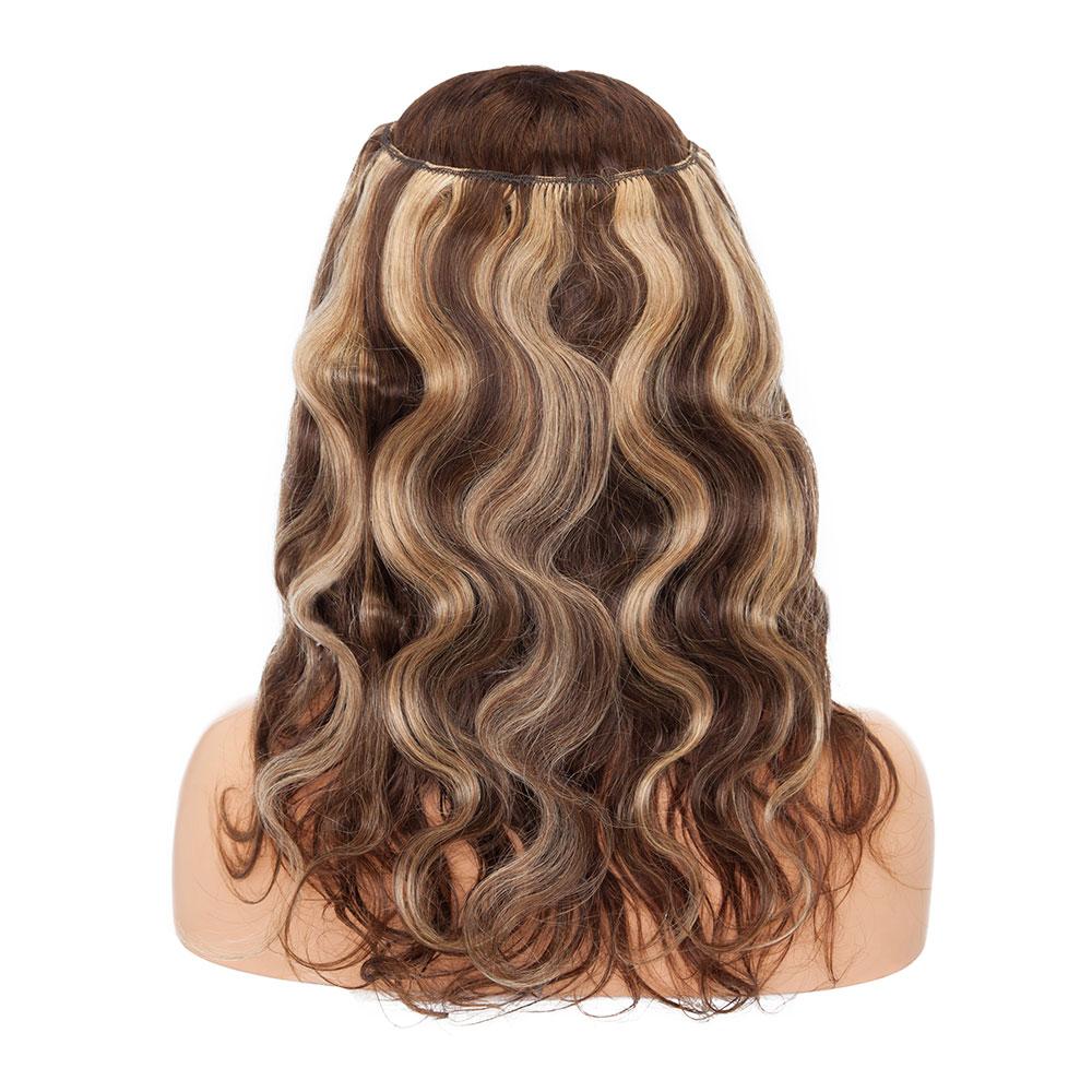 Flip na Extensão do Cabelo Onda do Corpo do Cabelo Sego Polegada Remy 100% Real Humano Invisível Trama Fio Linha Peixe Hairpiece 60g-75g 16-22 Não