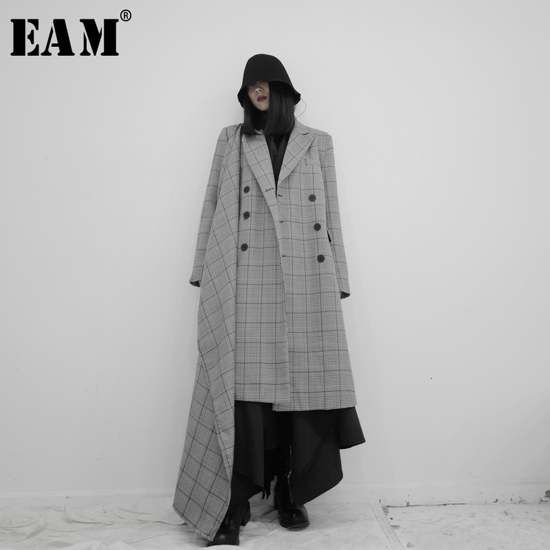 [EAM] Women Gray Plaid Asymmetrical Trench New Lapel Long Sleeve Loose Fit Windbreaker Fashion Tide Spring Autumn 2020 19A-a659
