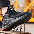 Moda quente sapatos de segurança de trabalho mulher e homem ao ar livre toe de aço anti smashing proteção anti-deslizamento à prova de punção sapatos de segurança