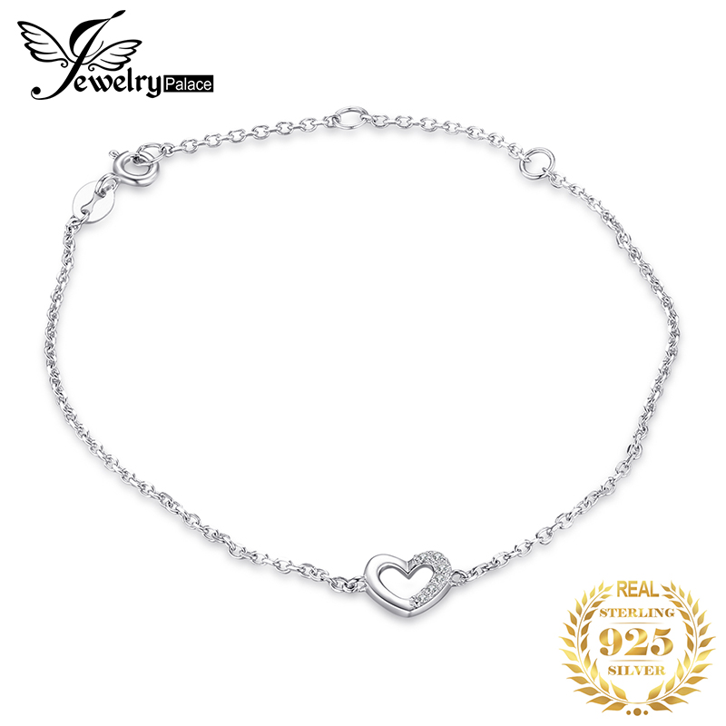 JewerlyPalace Heart Bracelet CZ 925 Sterling Silver Chain Bangles Bracelets For Women Silver 925 Jewelry Making Organizer