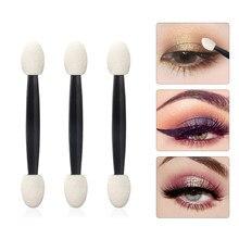 25 sztuk profesjonalne pałeczka z gąbką cień do powiek aplikator szczotki kosmetyczne dwugłowicowy pędzel do cieni do powiek dla kobiet narzędzia do makijażu