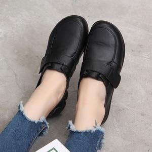 Image 4 - GKTINOO الربيع السيدات جلد طبيعي اليدوية أحذية النساء هوك و حلقة حذاء مسطح النساء 2020 الخريف لينة المتسكعون الشقق