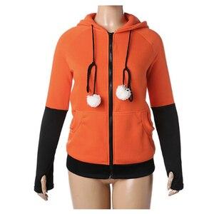 Image 3 - Halloween Kostüme Für Frauen Anime Fuchs Orelhas Ohren Orange Hoodie Sweatshirts Plüsch Ball Dekoration Weihnachten Jacken Outwear