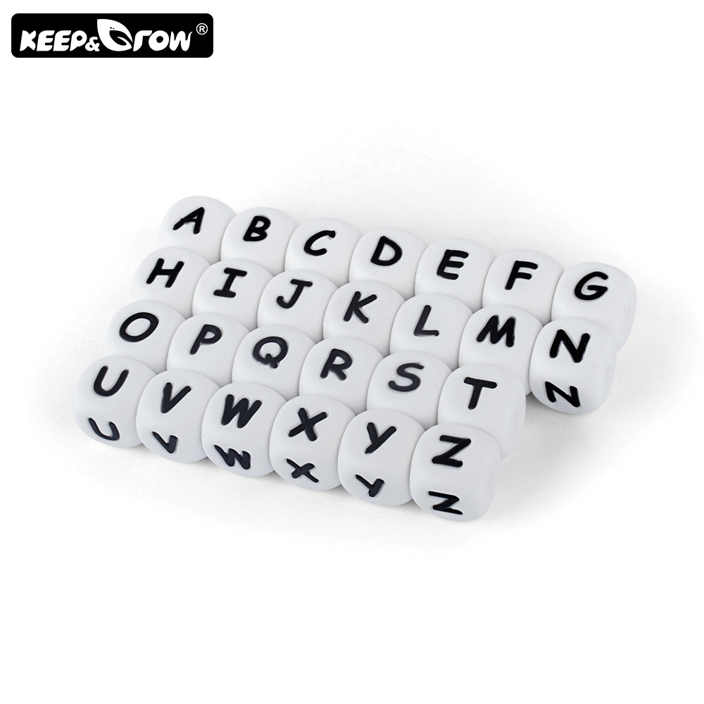Keep&Grow 1pc Silicone Letter Beads 12mm Food Grade Teether Bead Alphabet Beads For Personalized Name DIY Teething Necklace