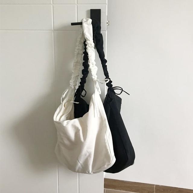 Women's Bag Korean Art Canvas Bag Drawstring Wide Shoulder Strap Messenger Bag Female Student Shoulder School Bag 6