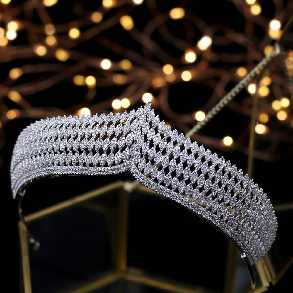 Hibride роскошь повязка благородный AAA кубический циркон короны и диадемы для невесты блестящие аксессуары для волос для свадьбы, ювелирные из... - 3