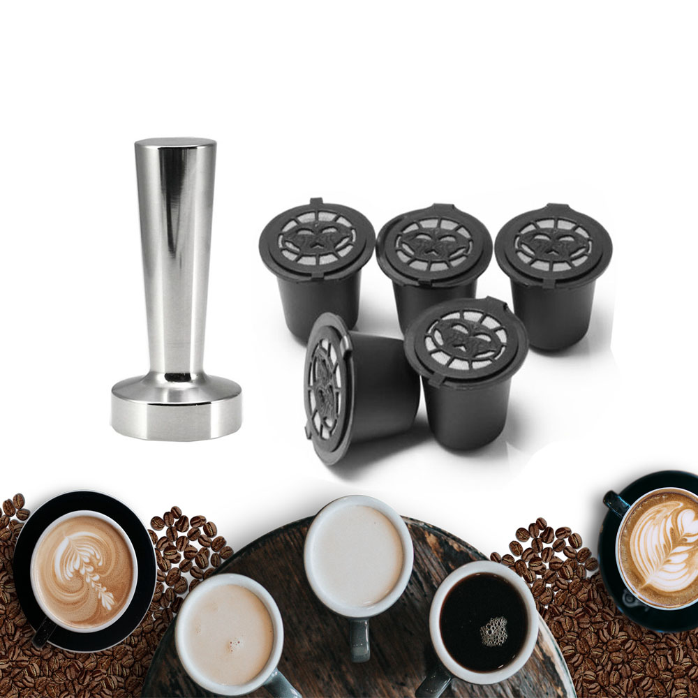 Reusable Nespresso Coffee Capsules Cup Stainess Steel Coffee Tamper Refillable Coffee Capsule Refilling Filter Coffeeware Gift