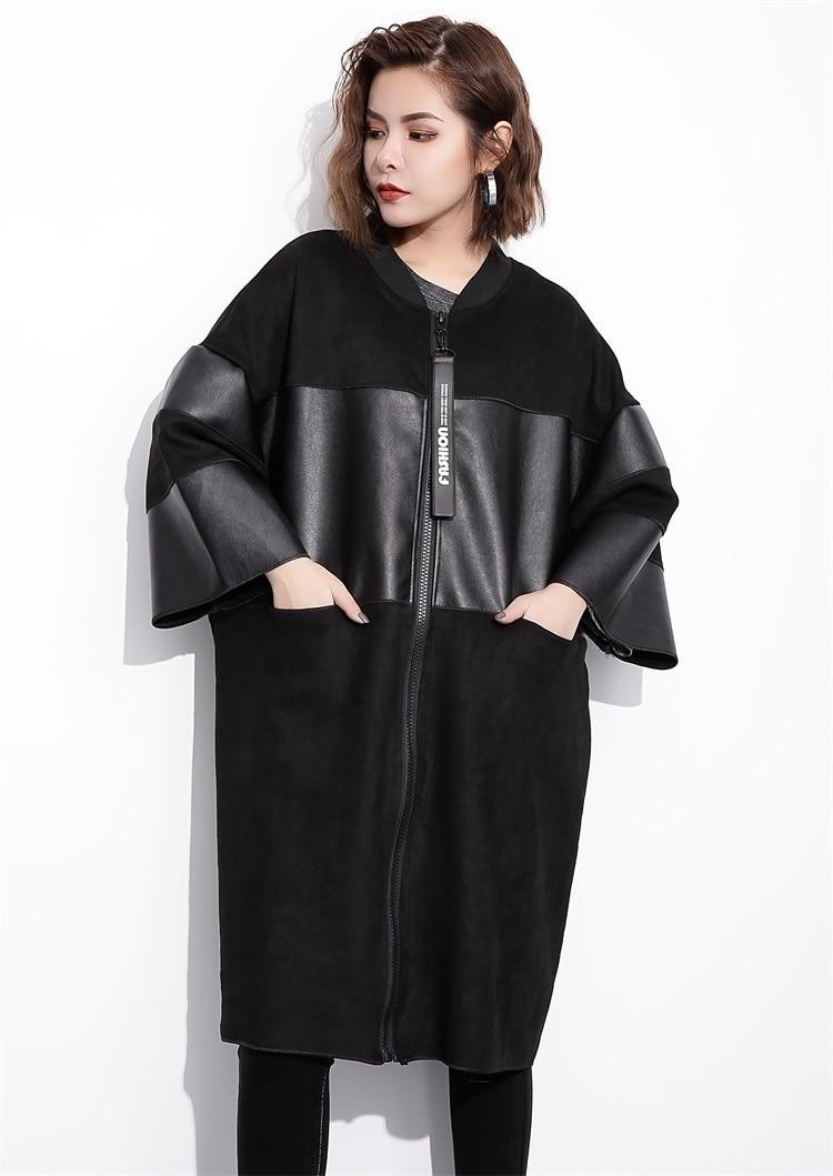 H4bd36cb5ced540c593399ae52de1f927E [EAM] Loose Fit Black Pu Leather Spliced Big Size Jacket New Stand Collar Long Sleeve Women Coat Fashion Autumn 2019 JC2530