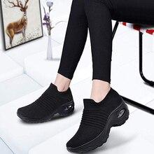 Sfit/Женская прогулочная обувь; дышащая обувь для бега из сетчатого материала; Модные слипоны на платформе; кроссовки с воздушной подушкой; современная танцевальная обувь для мужчин