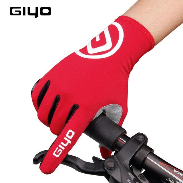 Giyo tela sensível ao toque longo dedos completos gel luvas de ciclismo esportes das mulheres dos homens bicicleta mtb estrada equitação corrida 2