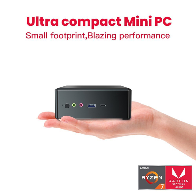 T-bao MN27 Metal Mini PC with AMD Ryzen 7 2700U CPU 16GB RAM 512GB M.2 NVNE SSD Radeon Vega 10 Graphics for Home Office 1