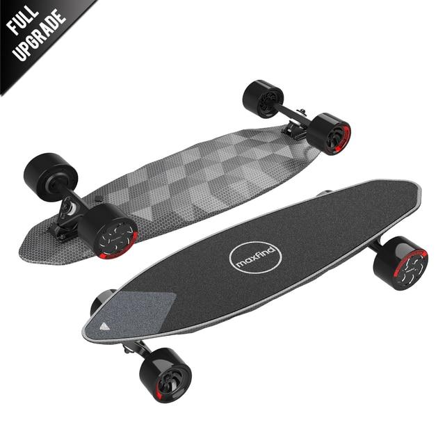 "Maxfind max 2 pro edição limitada skate elétrico longboard escuro 31 ""23 mph velocidade superior 16 milhas max faixa do motor duplo"