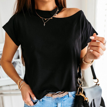 Women's Cold Shoulder T-Shirts Female Short Sleeve O-Neck Solid Color Top Shirts Summer Casual Fashion Clothes solid color cold shoulder all match casual women solid color o neck long sleeve cold shoulder holes plus size blouse hot sales