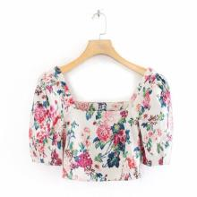 2020 Women Square Collar Flower Press Print Short Blouses Shirts