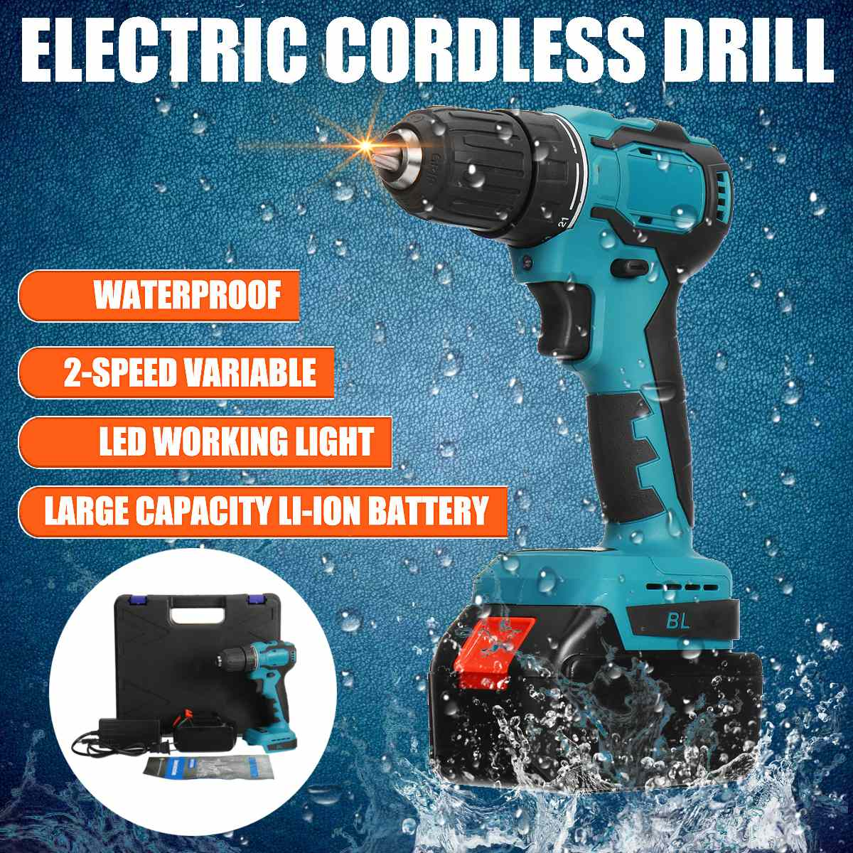 48V Cordless Electric Impact Drill 150Nm Torque Driver Kit Screwdriver Brushless LED Power Tools 6500mAh Battery