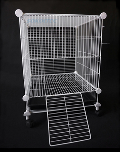Image 4 - הכלוב עבור לחיות מחמד עבור כלב הולם עבור חתול שתן קערת לול כלוב מוצרים אבטחת שער עבור ארנב עם גלגלים