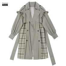 Trench Coat Women Plaid Ruffles Long Plus Size Coats Fall Clothes Double Breasted Korean Office Ladies Elegant New Trench Coats