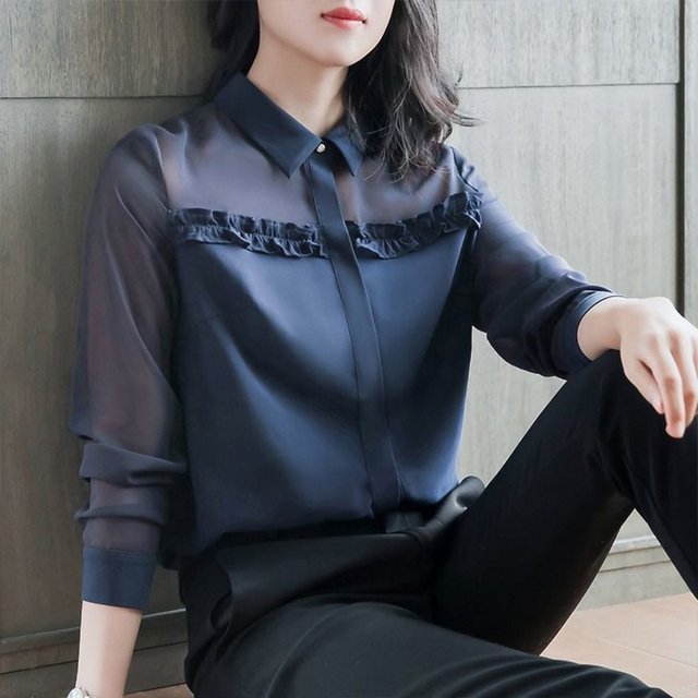 Women's Spring Autumn Style Blouse Shirt Women's Button Turn-Down Collar Solid Color Long Sleeve Korean Elegant Tops SP1099 2