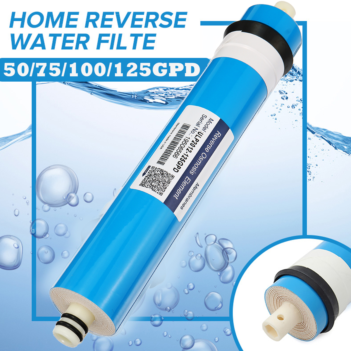 Home Kitchen Reverse Osmosis RO Membrane Replacement Water Filter System Household Water Purifying Filtration 50/75/100/125GPD