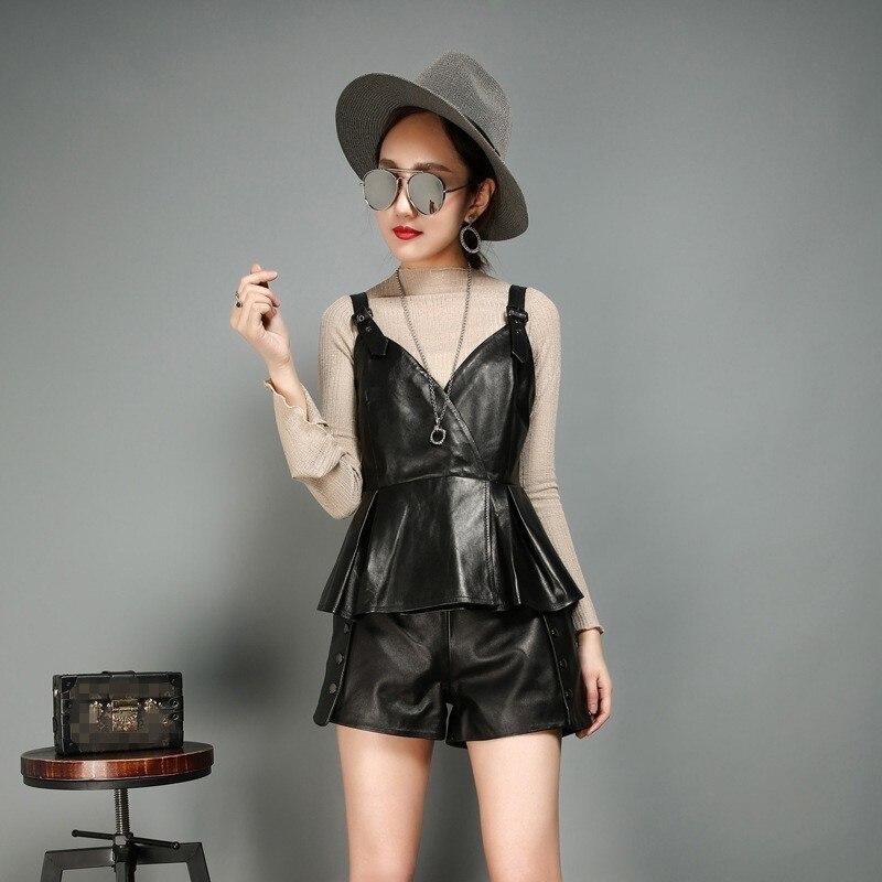 New Fashion Women Casual Suspenders Vest Ruffles Sheepskin Genuine Leather Female Outwear Short Style Waistcoat Slim Fit Jackets