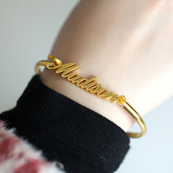 Custom Bracelet Personalized Name Calligraphy BFF Bracelets Bangles For Women Stainless Steel Pulseras Bijoux Femme