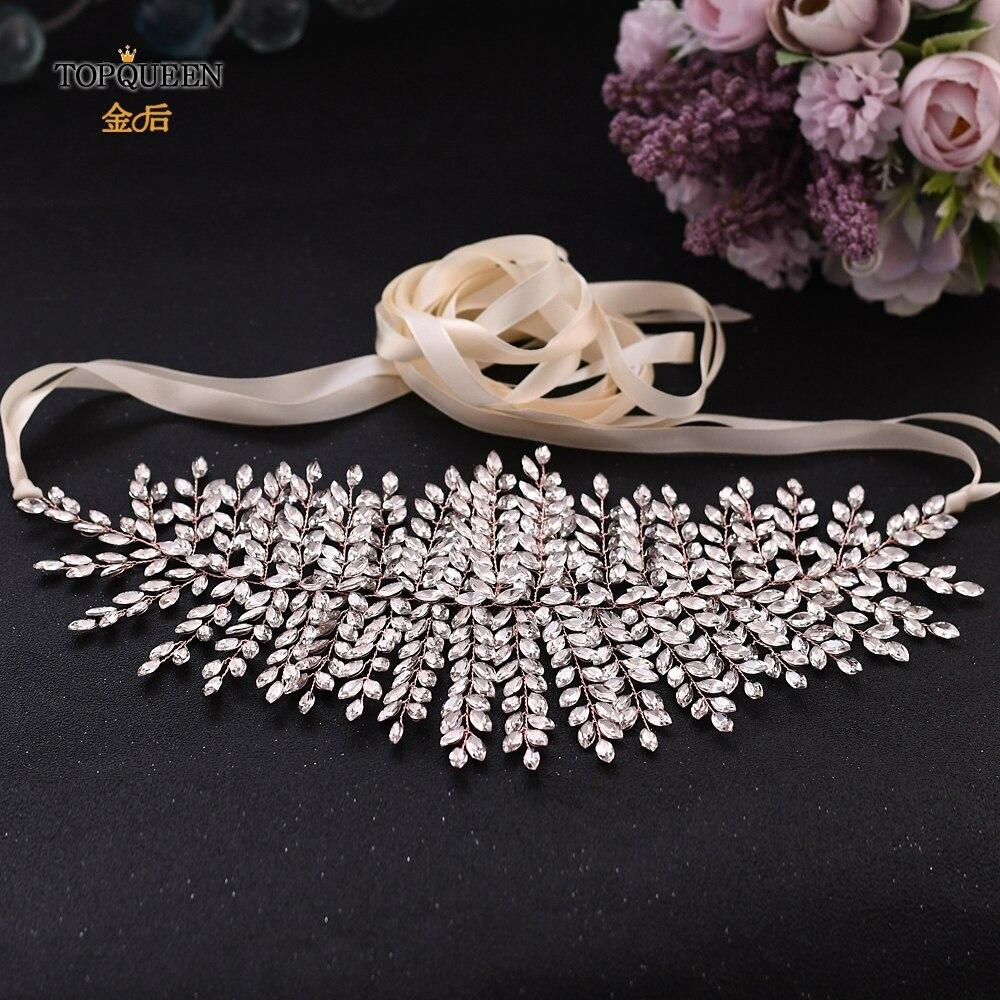TOPQUEEN Rose Gold Bling Belts for Women Rhinestone Skinny Belt for Formal Dress Bridal Dress Belt Jeweled Belt SH238-RG