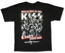 KISS JACKPOT PARTY BLACK T SHIRT NEW OFFICIAL ADULT BAND MUSIC ROCK N ROLL Men Cotton Confortable T-Shirt Printed T Shirt цена и фото