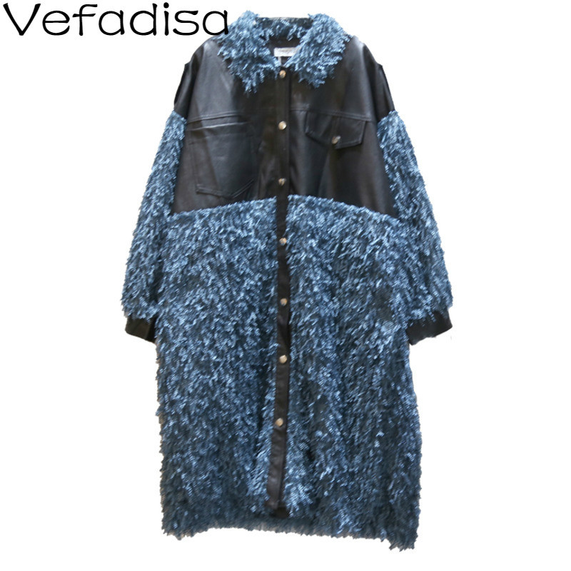 Vefadisa Tassels   Trench   Coat Woman Winter 2019 PU Patchwork   Trench   Coat Single Breasted Wide-waisted   Trench   Coat QYF942