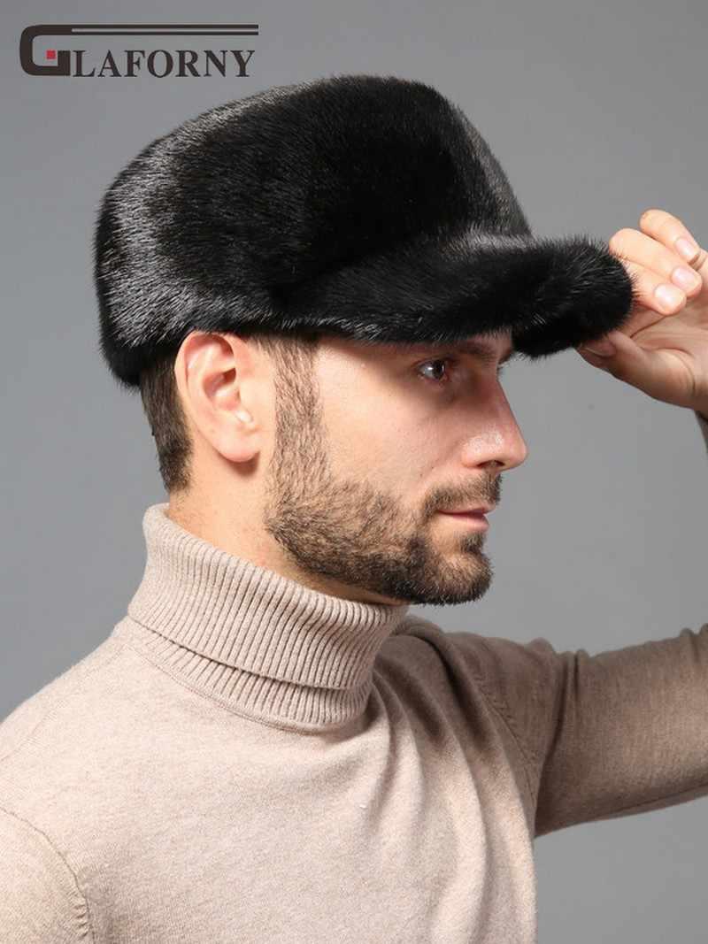 2019 جلافورني الصلبة فرو منك قبعة رجل الشتاء فرو منك سدادات حماية الأذن كله الفراء قبعة الذكور قمة مسطحة بلغت ذروتها قبعة بيسبول