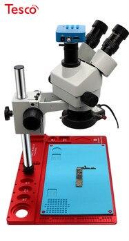3.5X-90X Simul Focal Trinocular Stereo Microscope with Aluminum Alloy Base + HDMI Camera for PCB Soldering Repair Tool luckyzoom brand 3 5x 90x 50 50 split simul focal microscope double boom stand trinocular stereo zoom microscopio set